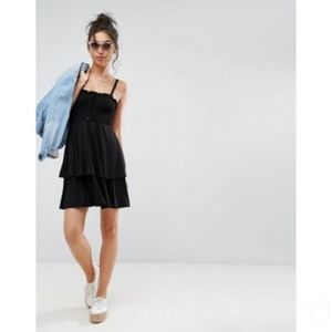 ASOS Shirred Mini Sundress With Tiered Skirt